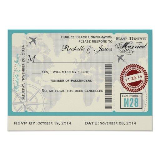 Personalized Plane ticket Invitations CustomInvitations4U - airline ticket invitation