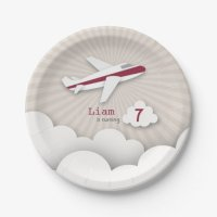 Airplane Birthday Party - Red 7 Inch Paper Plate | Zazzle