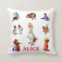 Alice in Wonderland and Friends Throw Pillow | Zazzle