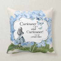 Alice in Wonderland Curiouser Hydrangea Pillow | Zazzle