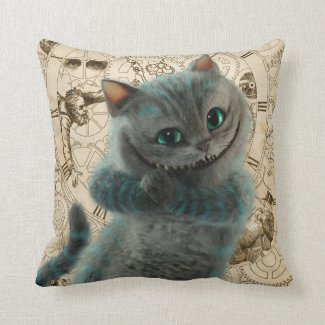 Alice Thru the Looking Glass | Cheshire Cat Grin Throw Pillow
