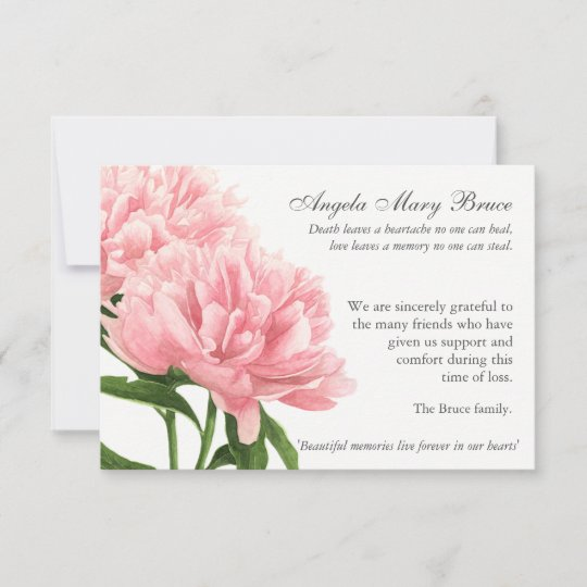 Antique Peonies Funeral Sympathy Thank You Card Zazzle