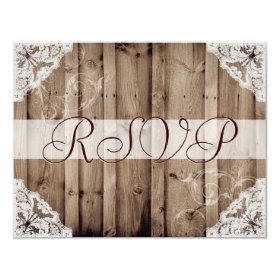 Antique White Lace Wedding RSVP 4.25x5.5 Paper Invitation Card