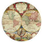 World Map Vintage Style Wall Art