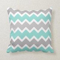 Aqua Blue and Gray Grey Chevron Throw Pillow | Zazzle