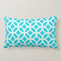 Aqua Geometric Lumbar Pillow | Zazzle.com