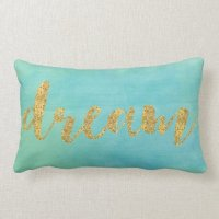 Aqua Mint Watercolor Gold Dream Lumbar Pillow | Zazzle