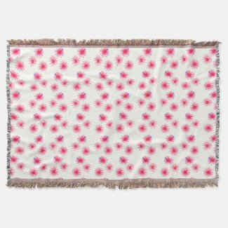Aster-Pink and Purple floral watercolor pattern Throw Blanket
