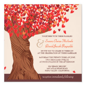 Autumn Love Romantic Oak Tree Wedding Invite