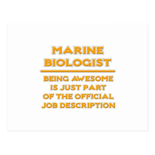Awesome Marine Biologist  Job Description Postcard Zazzle