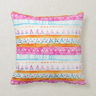 Aztec tribal watercolor pattern pink blue paint pillow