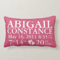 Baby Birth Announcement Pillow Personalized   Zazzle