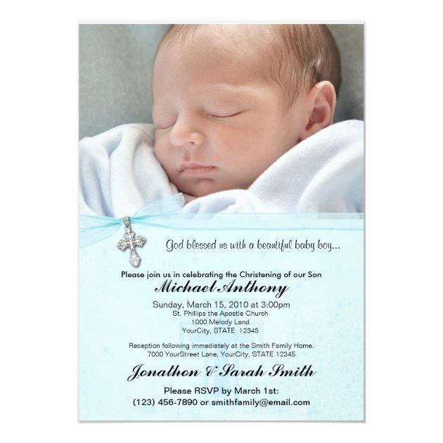 Baby Boy Baptism Or Christening Invitation Zazzlecom