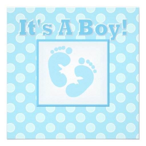 Baby Feet Its A Boy Baby Shower Invitation