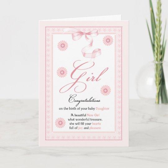 Baby Girl, Girl, Congratulations New Baby Card Zazzle