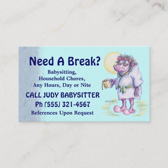 Babysitting Or Household Chores Business Card Zazzle