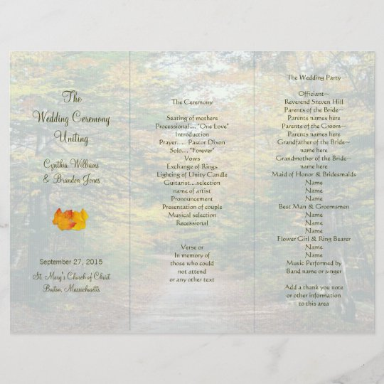 Back Road Tri-Fold Wedding Program Template Zazzle