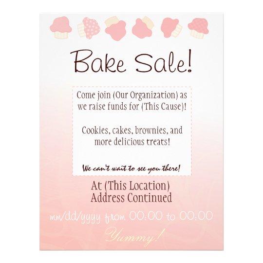 Bake Sale Flyer (Cupcake Border) Zazzle