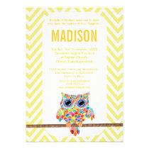Baptism Christening Chevron Rainbow Owl Invite