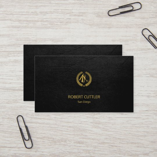 Barber shop luxury simple black leather look business card Zazzle