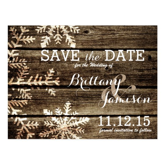Barn Wood Snowflakes Rustic Winter Save the Date Postcard Zazzle