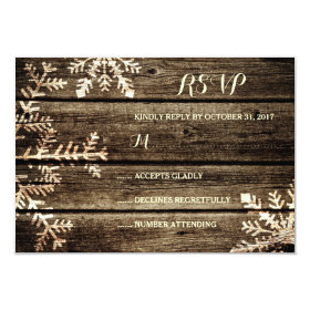 Barn Wood Snowflakes Rustic Winter Wedding RSVP 3.5x5 Paper Invitation Card