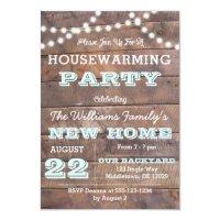 Barnwood Lights Aqua Housewarming Invitations | Zazzle.com