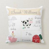 Barnyard Farm Birth Announcement Pillow   Zazzle.com
