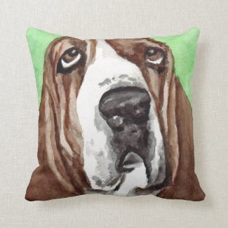 Basset Hound Watercolor Art Throw Pillows