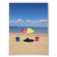 Beach chairs and Umbrella Hawaii Ocean Poster | Zazzle