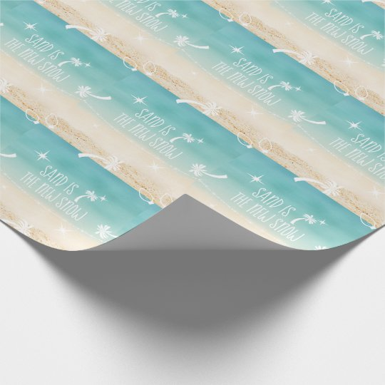 Beach + Palm Trees  Christmas Lights Sand  Snow Wrapping Paper