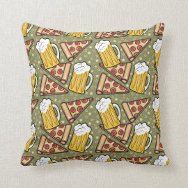 Beer and Pizza Graphic Pattern Pillows