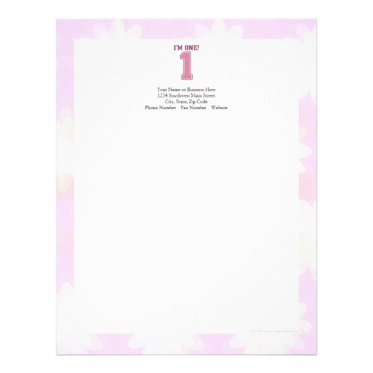 Big Pink Number One, Girl\u0027s First Birthday Letterhead Zazzle