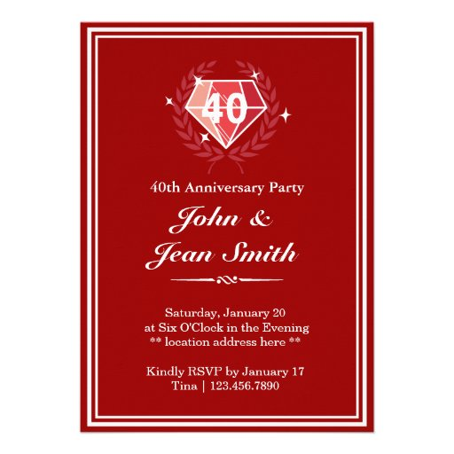 Personalized 40th anniversary Invitations CustomInvitations4U
