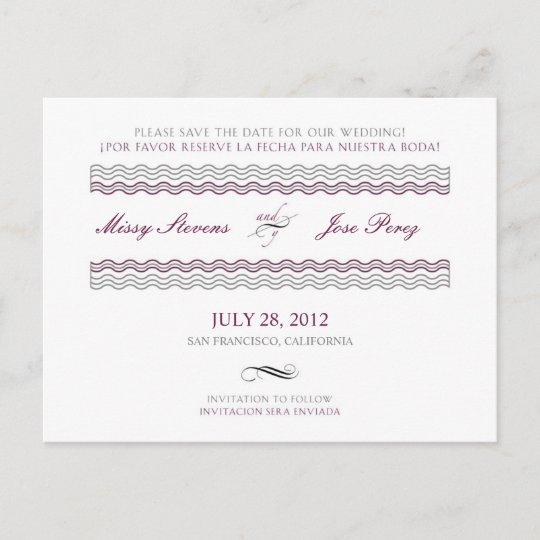 Bilingual Wedding Save The Date Postcard Zazzle