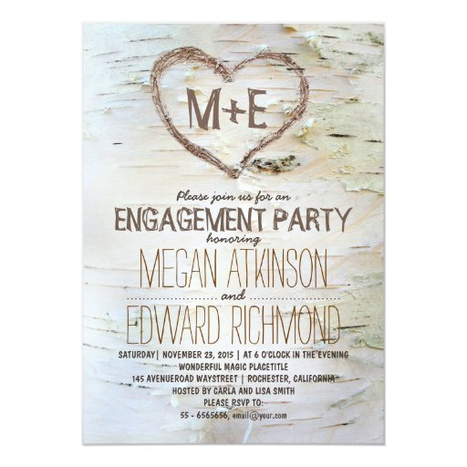 Birch Tree Heart Rustic Engagement Party Invites Zazzle