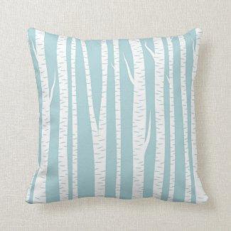 Birch Trees Blue Pillow