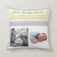 Birth Announcement Boy/Girl Pillow   Zazzle