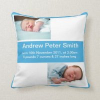 Birth Announcement Boy Pillow   Zazzle