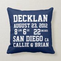 Birth Announcement Stats Navy Pillow   Zazzle.com