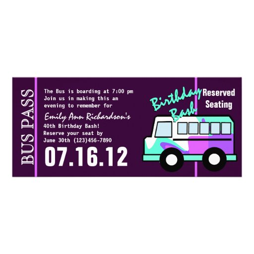 Personalized Bus pass Invitations CustomInvitations4U - bus pass template