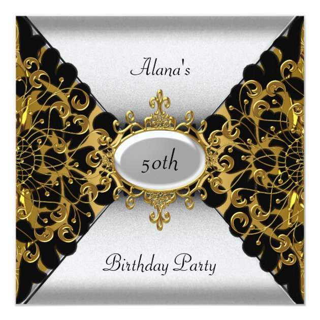 Birthday Elegant Black Silver Gold Party 50th Invitation