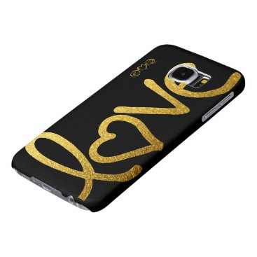 Black and Gold Love Samsung Galaxy S6 Cases