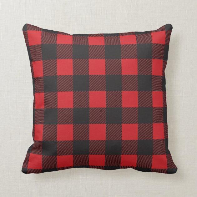 Black and Red Buffalo Check Plaid Throw Pillow