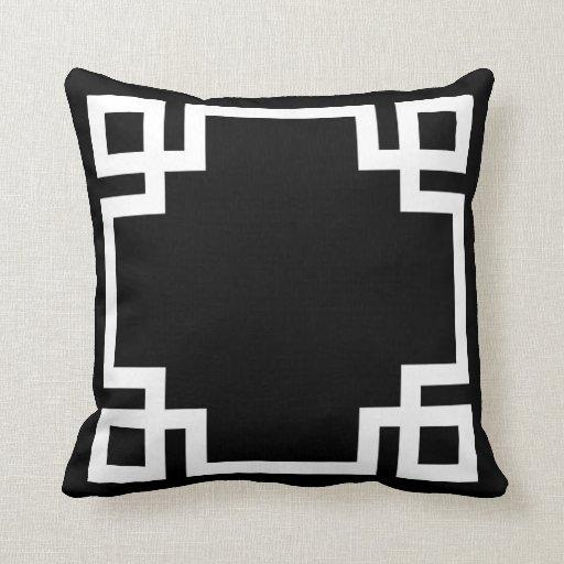 Black And White Greek Key Throw Pillows Zazzle