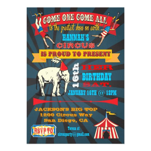 Personalized Circus birthday Invitations CustomInvitations4U - circus party invitation