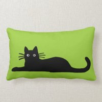 Black Cats on Green (Color is Customizable) Pillow | Zazzle