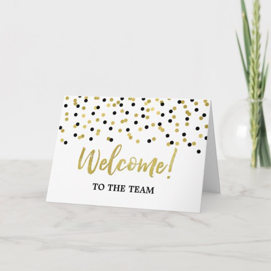 Black Gold Confetti Employee Welcome to the Team Card Zazzle