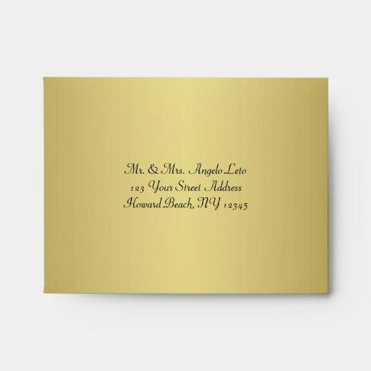 Black, Gold Floral A2 Envelope for RSVP Cards Zazzle