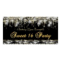 Black Gold Sweet 16 Birthday Party Banner Poster   Zazzle
